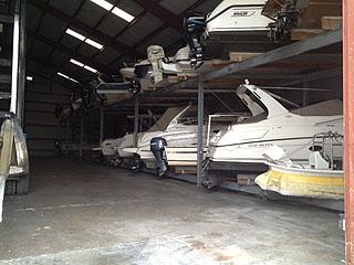 interior view of boat storage