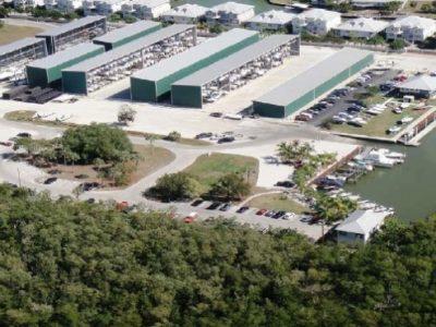 aerial view of marina yard and slips