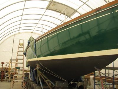 maintenance being done on a boat