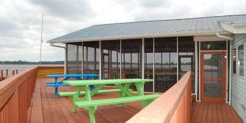 view of picnic tables on dock