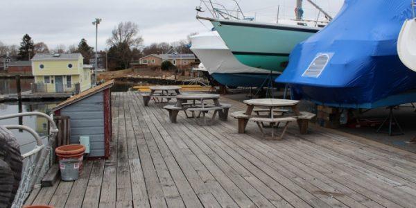 outdoor picnic area on marina dock