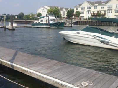 boat anchored in slip