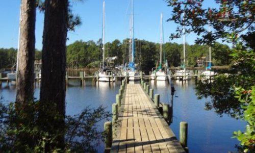 dock leading to boat slips