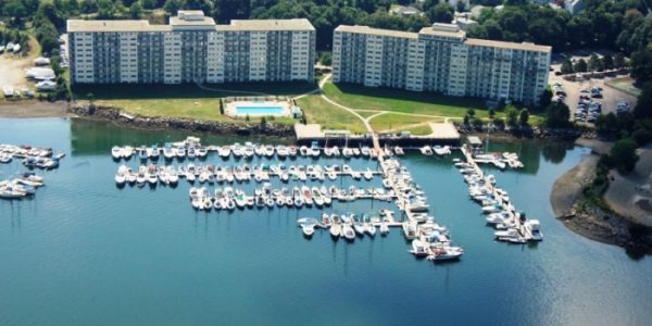 Aerial view of Captain's Cove marina